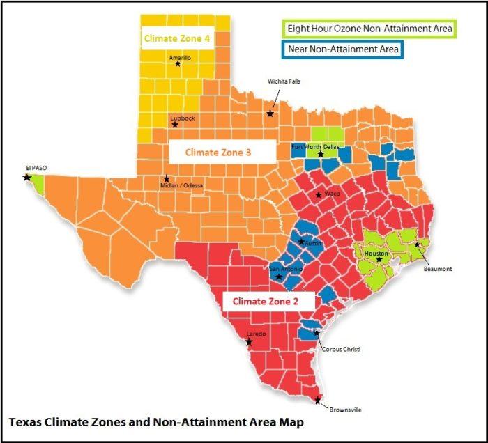 Texas Climate Zones and Non-Attainment Area Map